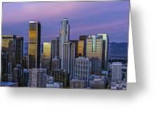 Los Angeles Skyline Sunset Greeting Card