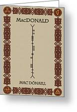 Macdonald Written In Ogham Greeting Card