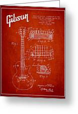 Mccarty Gibson Les Paul Guitar Patent Drawing From 1955 - Red Greeting Card