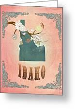 Modern Vintage Idaho State Map  Greeting Card