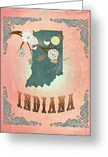 Modern Vintage Indiana State Map  Greeting Card