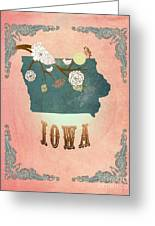 Modern Vintage Iowa State Map  Greeting Card