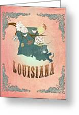 Modern Vintage Louisiana State Map  Greeting Card