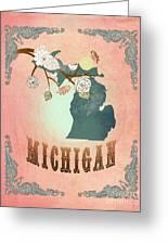 Modern Vintage Michigan State Map  Greeting Card