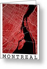 Montreal Street Map - Montreal Canada Road Map Art On Colored Ba Greeting Card