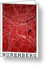 Nuremberg Street Map - Nuremberg Germany Road Map Art On Colored Greeting Card