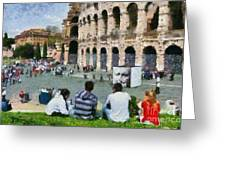 Outside Colosseum In Rome Greeting Card