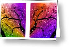 4-panel Snow On The Colorful Cherry Blossom Trees Greeting Card