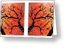 4-panel Snow On The Orange Cherry Blossom Trees Greeting Card