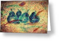4 Pears Mosaic Greeting Card