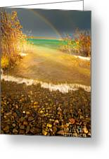Rainbow And Dark Clouds Over Large Lake Greeting Card