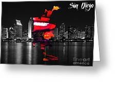 San Diego California Map And Skyline Greeting Card