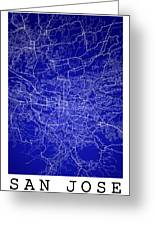 San Jose Street Map - San Jose Costa Rica Road Map Art On Colore Greeting Card