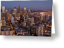 Seattle Skyline With Mount Rainier And Downtown City Lights Greeting Card