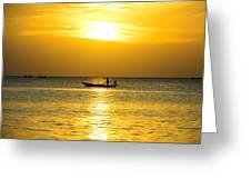 Silhouette Fisherman Are Taking Fishing Boat Greeting Card