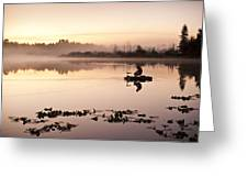 Sunrise In Fog Lake Cassidy With Fishermen In Small Fishing Boat Greeting Card