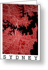 Sydney Street Map - Sydney Australia Road Map Art On Colored Bac Greeting Card