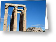 Temple Of Olympian Zeus And Acropolis In Athens Greeting Card by George Atsametakis