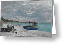 The Beach At Sainte-adresse Greeting Card