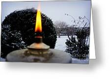 The Candle In The Snow Greeting Card