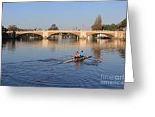 The River Thames At Hampton Court London Greeting Card