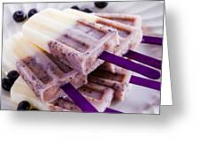 Vanilla And Blueberry Popsicles Greeting Card by Teri Virbickis