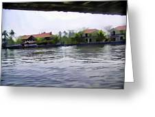 View Of Lake Resort Framed From The Top Of A Houseboat Greeting Card