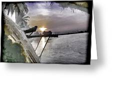 View Of Sunrise From Boat Greeting Card