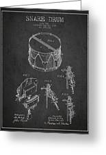 Vintage Snare Drum Patent Drawing From 1889 - Dark Greeting Card