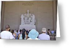 Visitors At The Lincoln Memorial Greeting Card