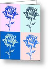 4 Warhol Roses By Punt Greeting Card