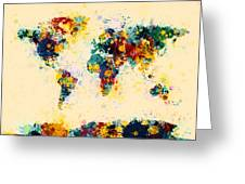 World Map Paint Splashes Greeting Card