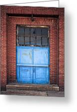 401 Blue Factory Door Greeting Card