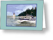 43 Foot Tollycraft Southbound In Clovos Passage Greeting Card