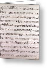 Handwritten Sheet Music, Music Notes Greeting Card