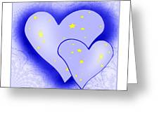 457 - Two Hearts Blue Greeting Card