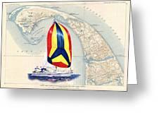 39 Foot Beneteau Cape Cod Chart Art Greeting Card