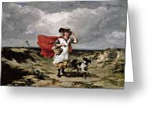 Crossing The Heath Windy Day Greeting Card