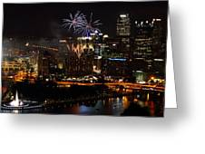 4th Of July Firworks In Pittsburgh Greeting Card by Jetson Nguyen