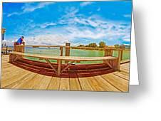 4x1 Anna Maria Island Rod And Reel Pier Greeting Card
