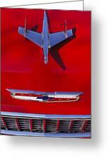 1955 Chevrolet Belair Nomad Hood Ornament Greeting Card