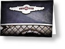 1959 Aston Martin Jaguar C-type Roadster Hood Emblem Greeting Card