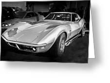 1969 Chevrolet Corvette 427 Bw Greeting Card