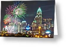 4th Of July Firework Over Charlotte Skyline Greeting Card