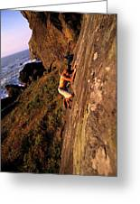 A Man Is Bouldering Near The Ocean Greeting Card