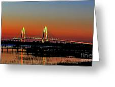 Arthur Ravenel Bridge Orange Glow Greeting Card