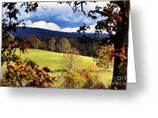 Autumn Hillside And Rain Clouds Greeting Card
