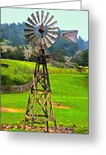 Painting San Simeon Pines Windmill Greeting Card