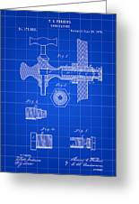 Beer Tap Patent 1876 - Blue Greeting Card