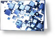 Blue Cubes Greeting Card
